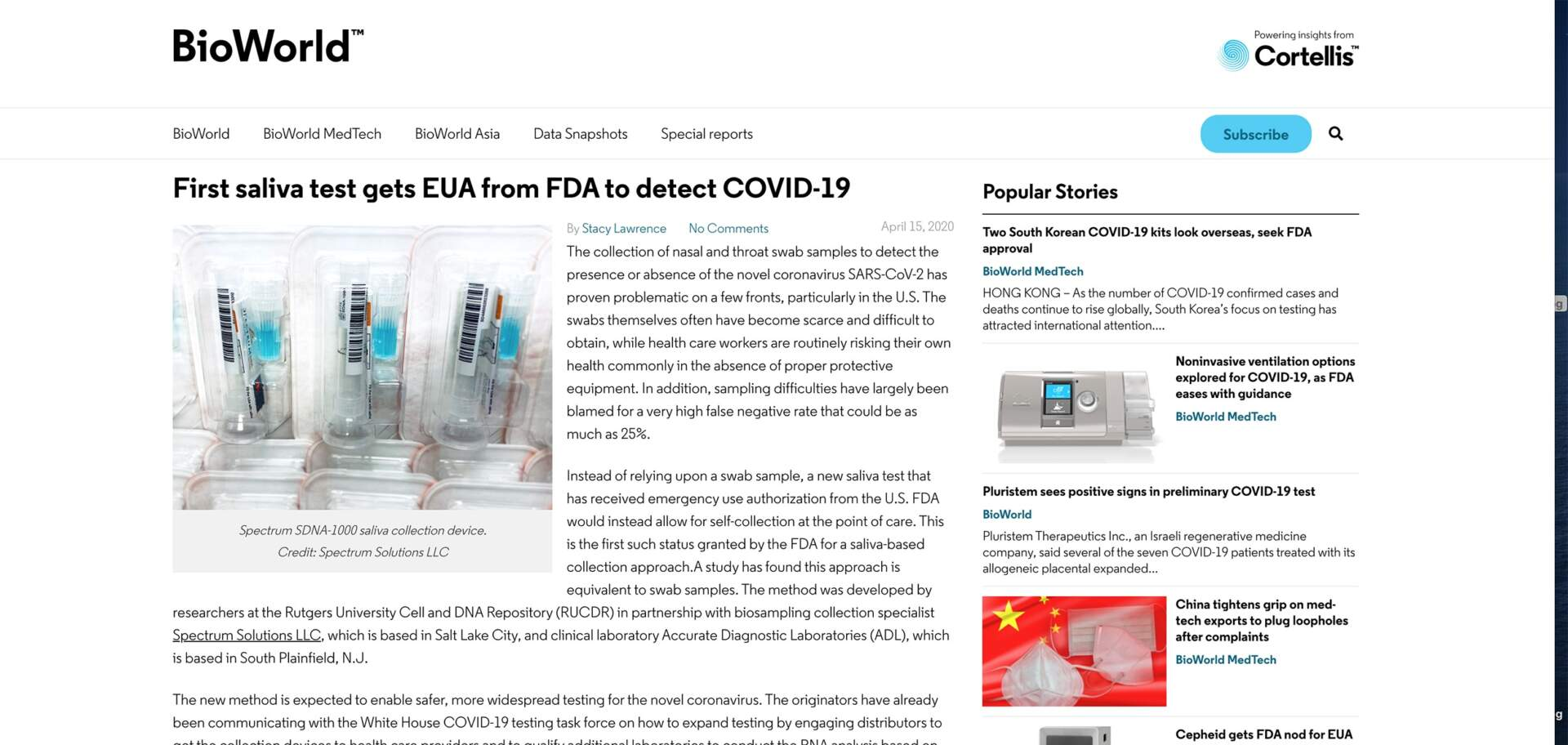 BIOWORLD-First saliva test gets EUA from FDA to detect COVID-19
