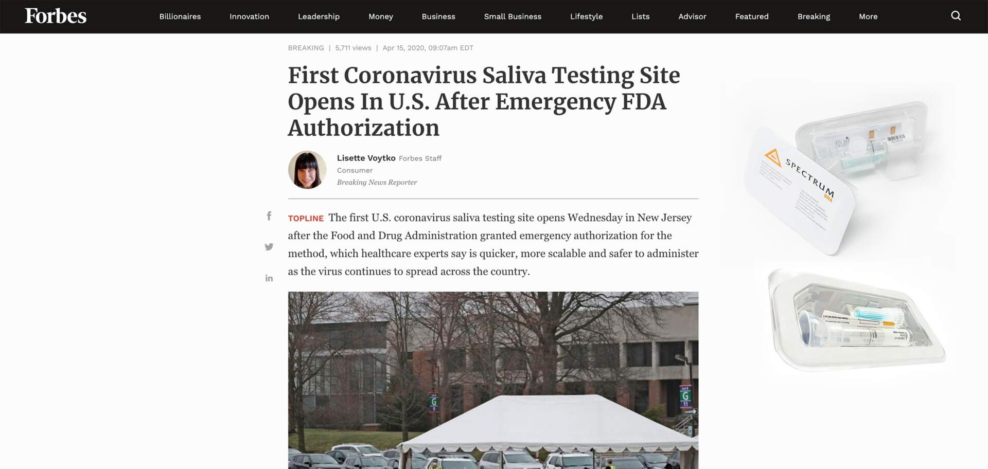 FORBES-First Coronavirus Saliva Testing Site Opens In U.S. After Emergency FDA Authorization
