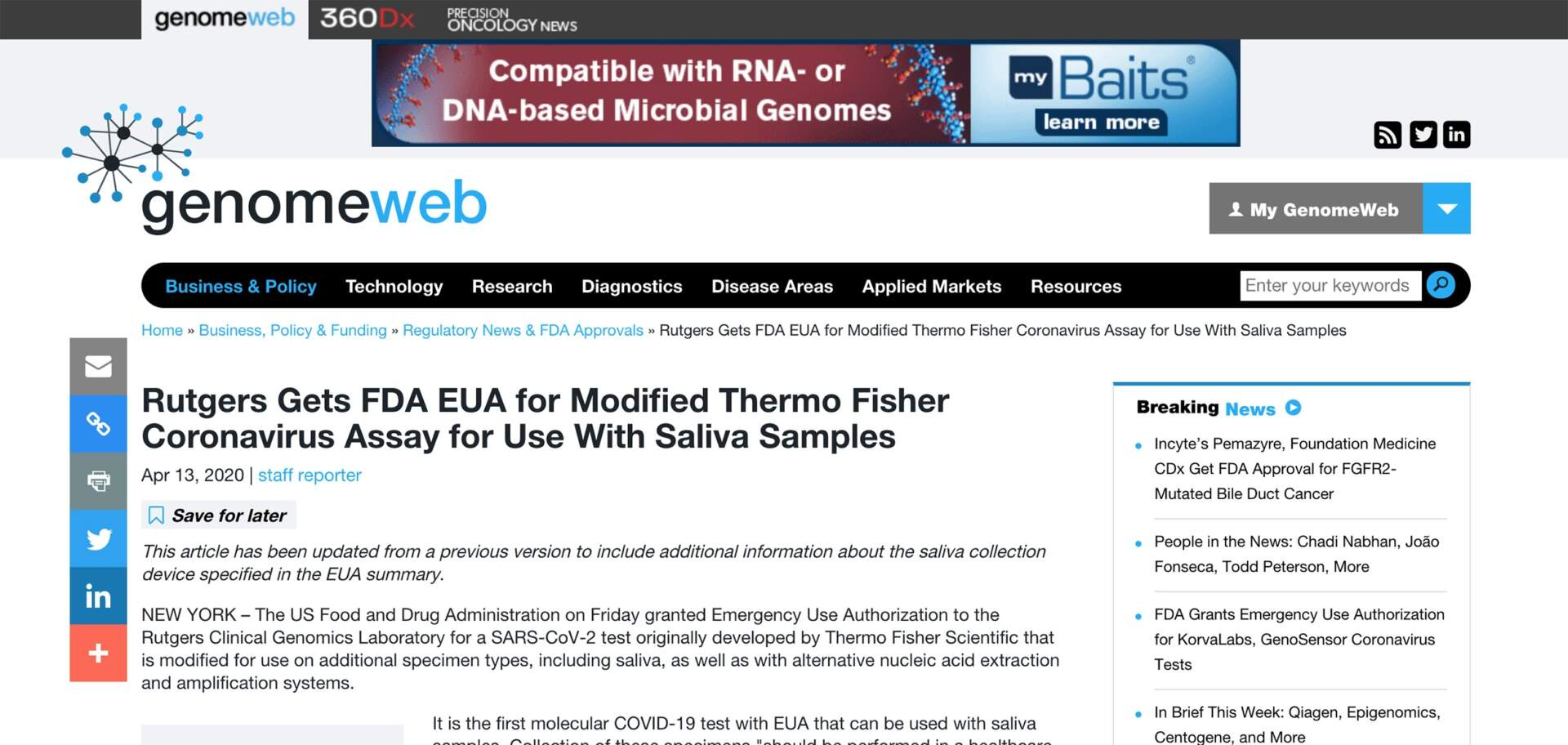 Genomeweb-FDA EUA for Coronavirus Assay for Using Saliva Samples with Spectrum Solutions