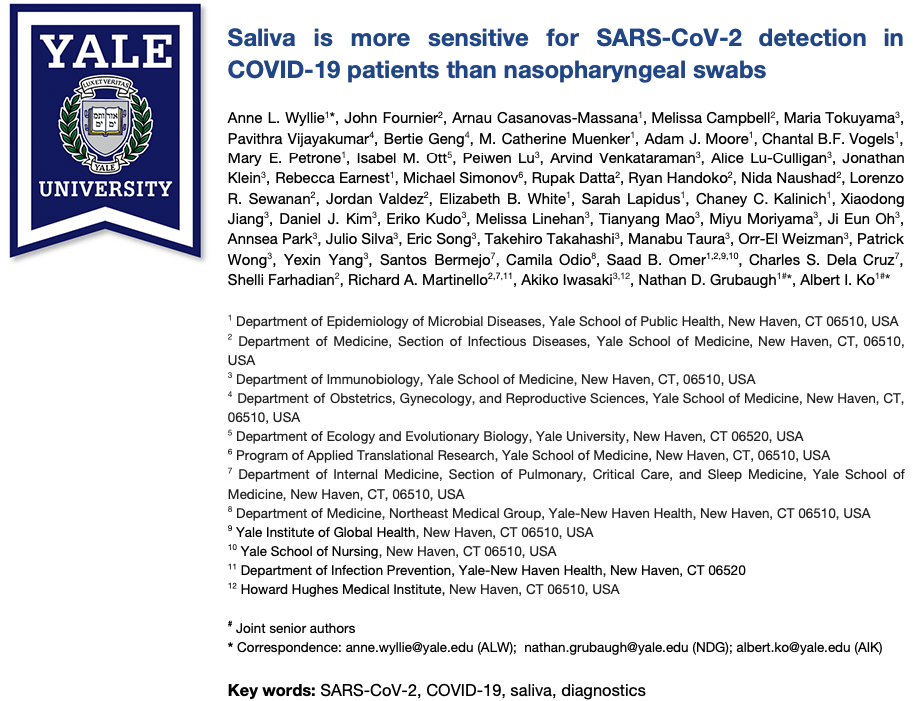 Yale University Research Study Proof Point- Saliva More Sensitive for COVID-19 Detection Than Naso-Swabs