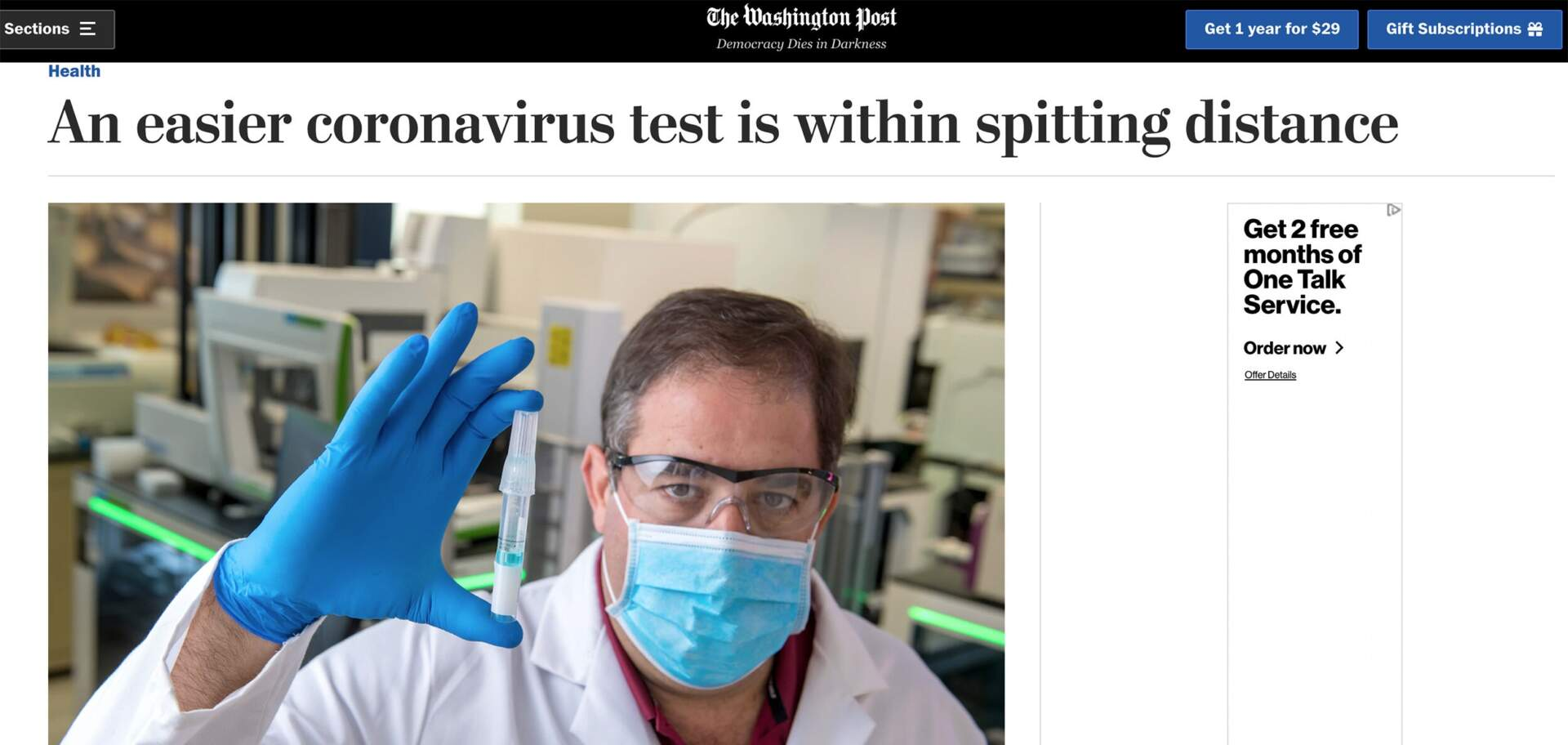The Washington Post-An easier coronavirus test is within spitting distance
