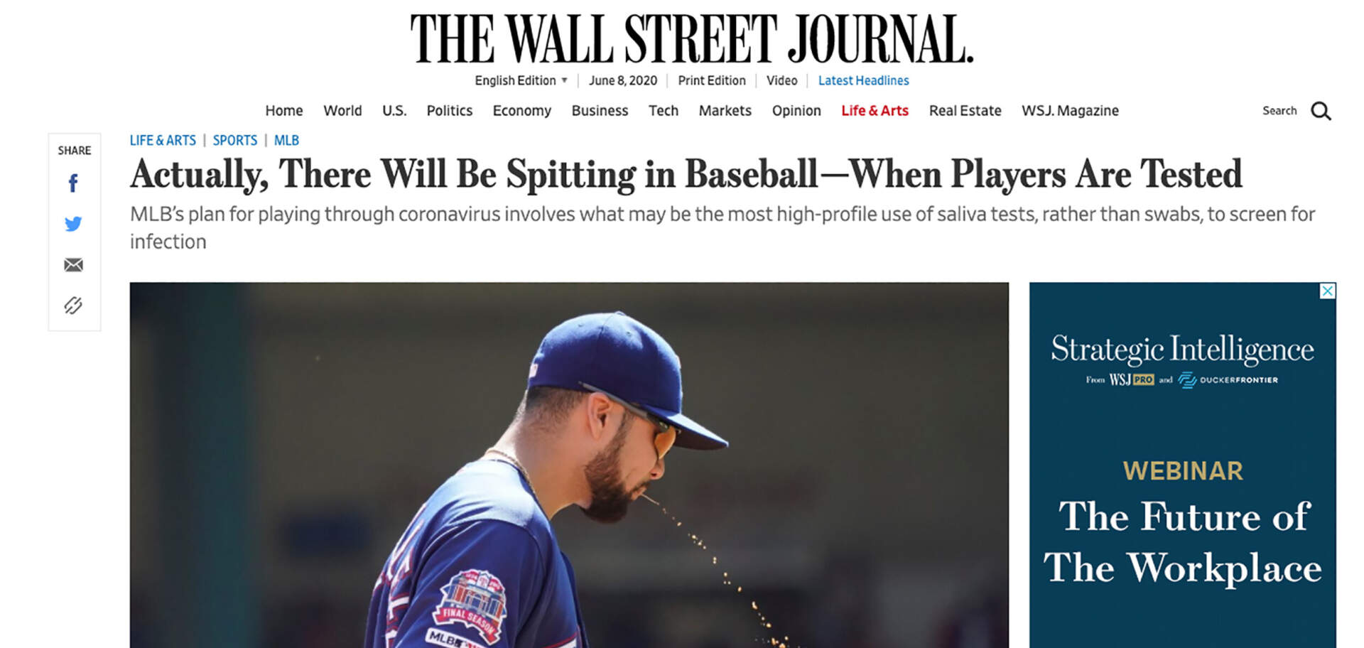 Wall Street Journal-Spitting is allowed in baseball